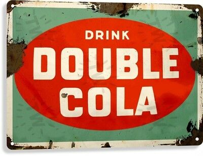 Double Cola Soda Pop Advertising Vintage Retro Rustic Wall Decor Metal Tin Sign