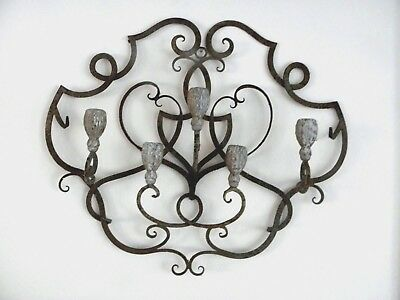 "VINTAGE RUSTIC FRENCH TOLE WROUGHT IRON METAL 5 ARM WALL SCONCES *HUGE* 25""x 21"""