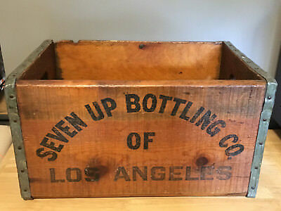 Vintage 7UP Bottling Co Los Angeles CA Wooden Crate Box 1-71 FREE SHIPPING