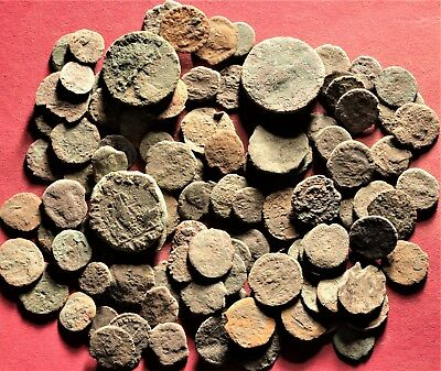 Lot of 100 Ancient Roman Bronze Fragment Coins, AE3, AE4 #22
