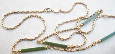 CHRISTIAN DIOR Vintage Necklace Haute Couture Jade Green Beads Gold Chain
