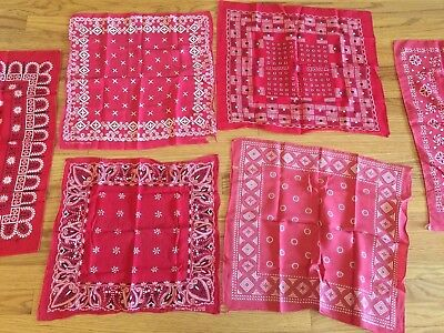 LOT Of 7 Vintage Red Bandanas Elephant Trunk Down Fast Color Tiger Tuside
