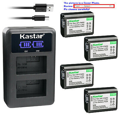 Kastar Battery LCD Dual Charger for Sony NP-FW50 & ILCE-7RM2 Alpha 7R II a7R II