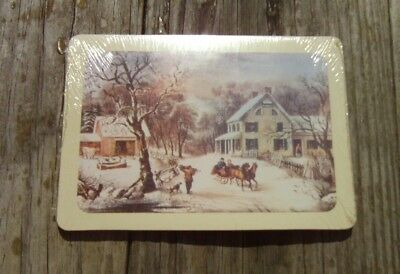 Vintage Currier & Ives Type Christmas Postcards - Sealed Package of 15