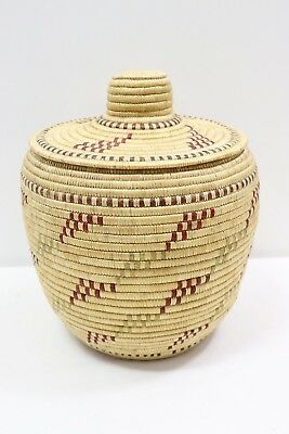 Vintage Inuit Native American Alaska Coiled Woven Basket With Lid