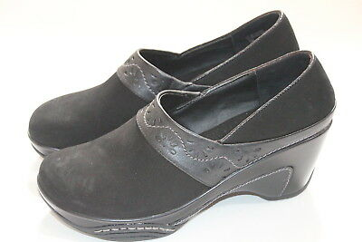 227bebafe855 White Mountain Mismatched 8.5M Left 9M Right Black Leather Clog Wedge Middy  New
