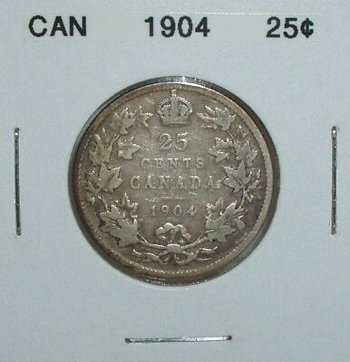 Canada 1904 Silver 25 Cents  Key Date