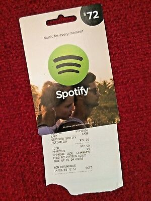 $72 AUD Spotify Gift Card
