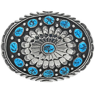 Handmade Navajo Belt Buckle Turquoise Silver Tail Feathers