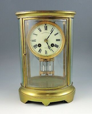 Antique Samuel Marti French Crystal Regulator Clock w/Oval Glass ~ Strong Runner