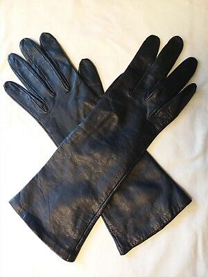 Lionel Le Grand Black leather silk Lined Gloves Bonwit Teller Size 6 3/4  France