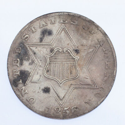 1856 3CS Three Cent Silver in VG Condition, Fine+ in Wear, Light Hairlines