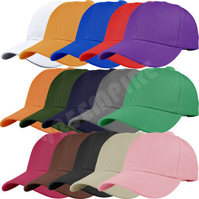12 PCS wholesale lot Plain Solid Color Adjustable Baseball Cap Hats