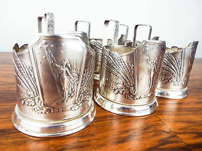 Vintage Set Of 6 Russian Silver Plated Glass Cup Holders USSR Soviet Space Era