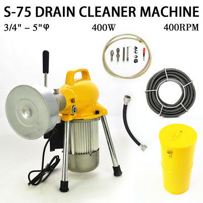 """3/4""""-5"""" Sectional Pipe Drain Auger Cleaner Machine Snake Sewer Clog w/ Cutter"""