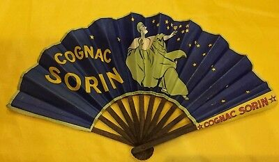 circa 1920/1930 Signed French Advertising Fan COGNAC SORIN Paris France Rare