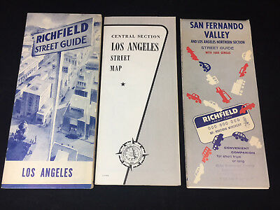Vintage Assorted Lot Of Three 1950-1960 Los Angeles, California Street Maps