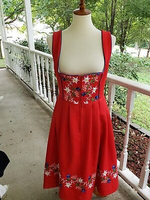 Ernst Licht Sz 12 Dirndl Dress Red German Octoberfest Beer Wench plus Apron EUC