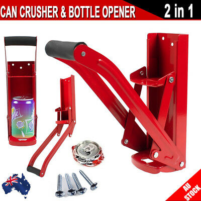 CAN CRUSHER BOTTLE OPENER RECYCLING CANS KITCHENWARE SODA BEER WALL MOUNT 16oz