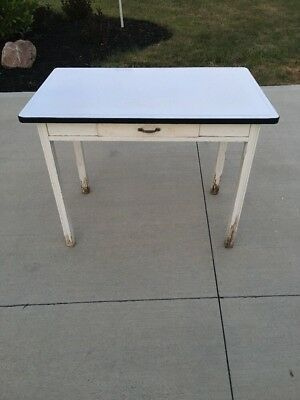 Antique Farmhouse  White Porcelain Enamel Kitchen Metal Top Wood Table 1 Drawer