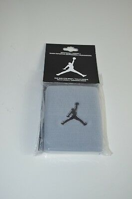 NWT Jordan Wristband 100% Authentic White Gray Adult Unisex 2-Pack 619352