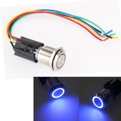 19mm Car Blue LED Angel Eye Metal Push Button Toggle Switch ON/OFF Socket 12V AU
