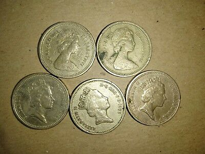 Great Britain 1983,1985, 1989 one pound coins