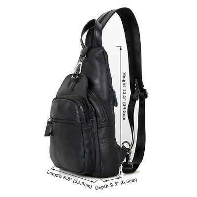 44bba0ac9800 J.M.D Mens Real Leather Chest Bag Chic Crossbody One Shoulder Sling Bag  Black