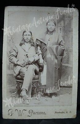 G. W. Parsons NATIVE AMERICAN OSAGE INDIAN MAN AND WOMAN CABINET CARD PHOTO