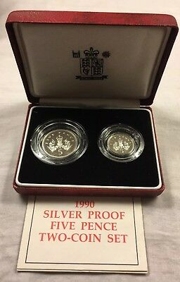 1990 Silver 5 Pence - 2 Coin Proof Set - Old & New Types With Box & COA - Rare