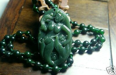 Natural Nephrite Green Jade 100%Hand-carved China Pendant mermaid Free Necklace