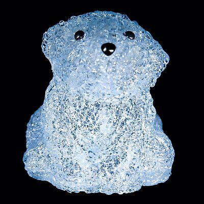 LED Illuminated Acrylic Baby Polar Bear Sculpture Night Light, Blue