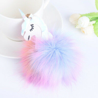 Unicorn Keychain Pompom Fur Car Key Chain Bag Pendant Key Ring Abundant Gift