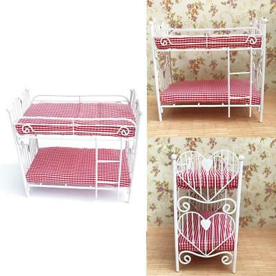 1:12 Metal Bed Princess Double Mini Bed Bedroom Furniture Dollhouse Miniatures