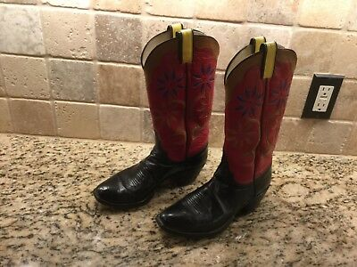 M.L. Leddy Womens 9 B Black Red Leather Snip Toe Cowgirl Handmade Western Boots