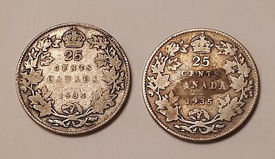 Lot of 2 : 1934 and 1935 Canada 25 Cents Coins  (both coins are 80% Silver)