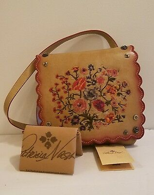 NWT Patricia Nash Prairie Rose Embroidered Granada Small Crossbody Brown