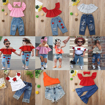 Toddler Kids Girls Clothes T-shirt Tops+Ripped Jeans Demin Pants Outfits Set