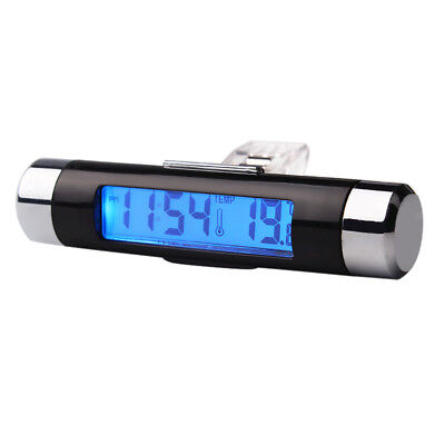 Mini Car Auto Dashboard Digital LCD Time Clock Thermometer Blue Backlight