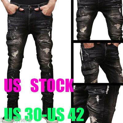 2017 Mens Ripped Biker Jeans Slim Motorcycle Distressed Denim Thick Jeans Skinny