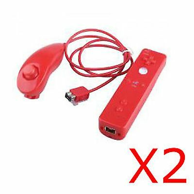 rouge 2X ROT controleur Manette Wii mote Remote+Nunchuck+Housse Pour Wii Rouge