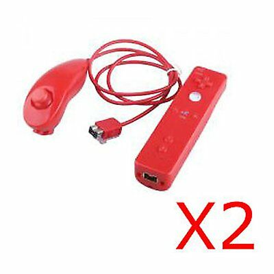 2X ROT controleur Manette Wii mote Remote+Nunchuck+Housse Pour Wii Rouge