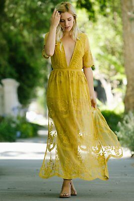 64db9ed10eb HONEY PUNCH YELLOW Embroidered Lace Romper Maxi Dress. Style ...
