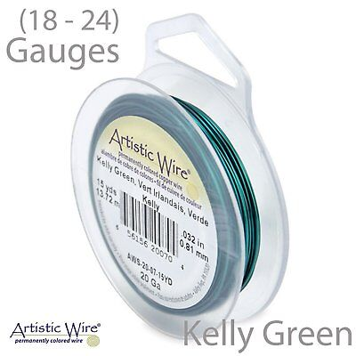 Kelly Green Tarnish Resistant Artistic Wire - Green Wire (18-24 GA)