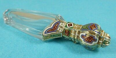 Magnificent French 18 Carat Gold Enamel & Glass Perfume Bottle Urn Lid Ca 1880