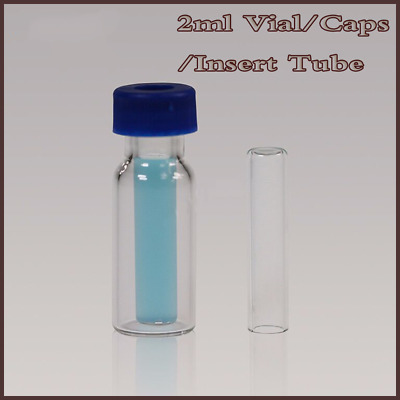 100pcs Clear Sample Glass VIal 2ml +Screw Top Caps PTFE +Micro-Insert Tube Flat