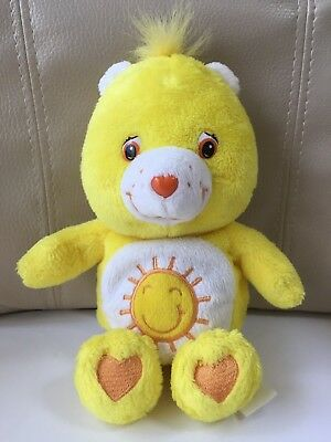 """Care Bears Funshine Bear Plush Doll H 18cm 7"""" Used 2008 From Japan F/S Tracking"""