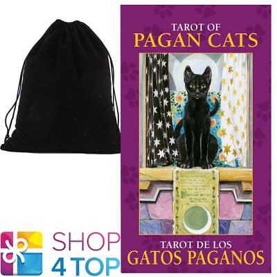 Pagan Cats Mini Tarot Cards Deck Esoteric Lo Scarabeo With Velvet Bag New