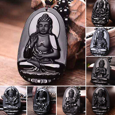 1Pc Buddha Lucky Amulet Pendant Necklace Natural Black Obsidian Hand Carve
