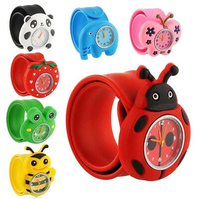 Kids Boys Girls Slap Snap On Silicone Seas Animal Zoo Cartoon Wrist Watch Child